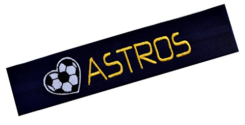 Soccer Headband Embroidered with Personalized Custom Name and Embroidered HEART Patch (ROYAL BLUE (Embroidered Hearts)