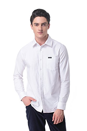 Cotton Fleece Oxfords - P-09 Men's Long Sleeve Oxford Shirt(L, White)