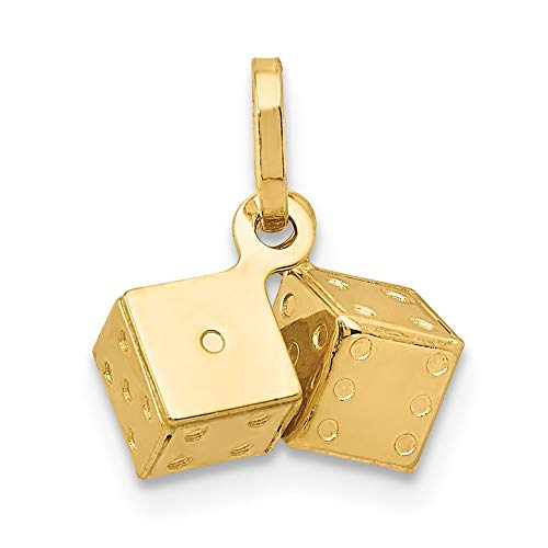 14k Yellow Gold Dice Pendant Charm Necklace Gambling Fine Jewelry Gifts For Women For Her
