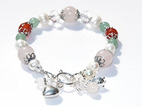 (Juno Fertility and Pregnancy Bracelet in Sterling Silver, with Natural Gemstones Rose Quartz, Moonstone, Green Aventurine, Carnelian, Freshwater Pearls)