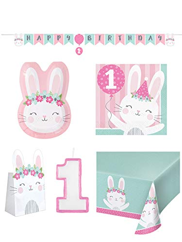 Olive Occasions Baby Girl First Birthday Bunny-Themed Disposable Party Supplies 16 Bunny Shaped Plates, 16 Napkins, Banner, Table Cover, Loot Bags, Candle, Grandma Olive's - Birthday Loot First Bags