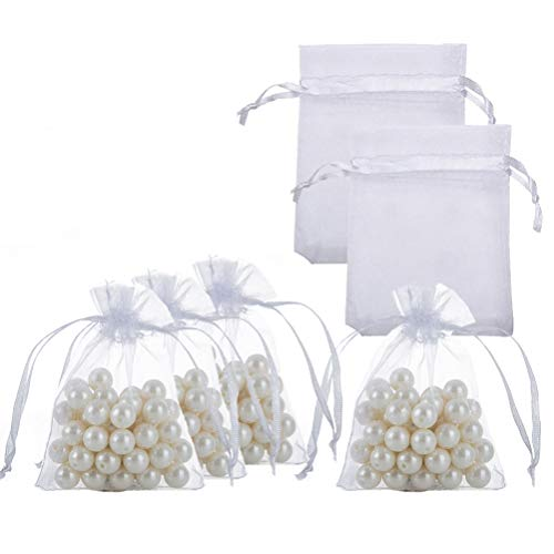 Small Organza Bags with Drawstrings 2.7x3.5 inch, White, Pack of 100 -