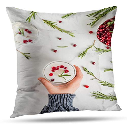 Halloween Red Punch Recipe Alcoholic (Geericy Thanksgiving Decorative Throw Pillow Covers, Drinks Xmas and Thanksgiving with White Christmas Cushion Cover 18 x 18 Inch for Bedroom)