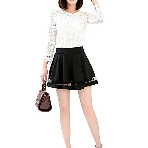 OHTOP School Style Sweet Tulle Pleated Short Mini Flared Skirt Divided For Girls/Women (XL) (Pleated Sweet)