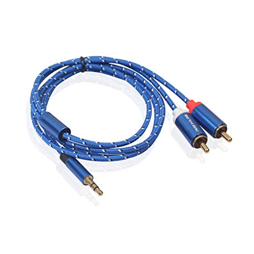 Aluminium Audio - OmkuwlQ Aluminum Alloy Port 3.5mm to 2RCA Adapter Phone to Amplifiers Subwoofer Audio Mixer Home Theater AUX Audio Cable