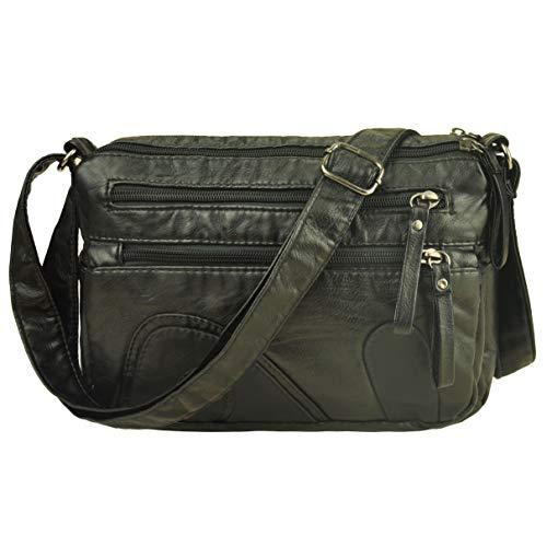 Volcanic Rock Women Crossbody Bag Pocketbooks Soft PU Leather Purses and Handbags Multi Pocket Shoulder Bag (Black3-10.2