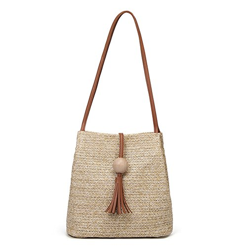 - QZUnique Women's Summer Straw Bucket Tote Bag Straw Woven Handbag Tassel Shoulder Bag