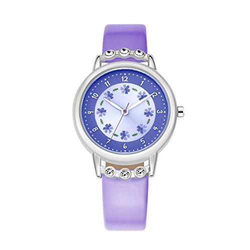 Friends Teacher Watch Time (Kids Time Teacher Wrist Watch Student Analog PU Band Watches Purple)