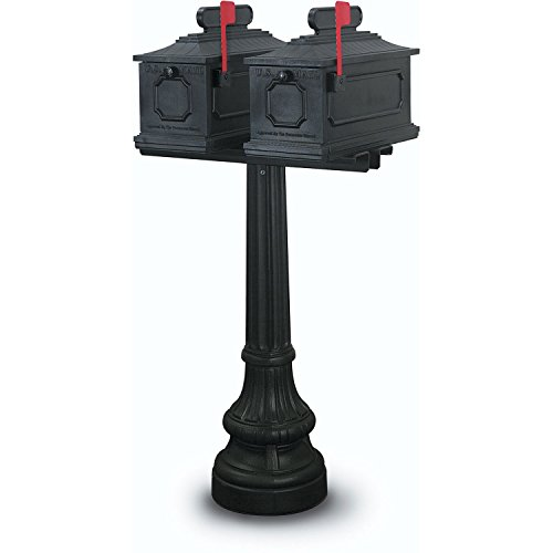 Double Mailbox - United Visual Products Montgomery Double Residential Mailbox & Post, Black