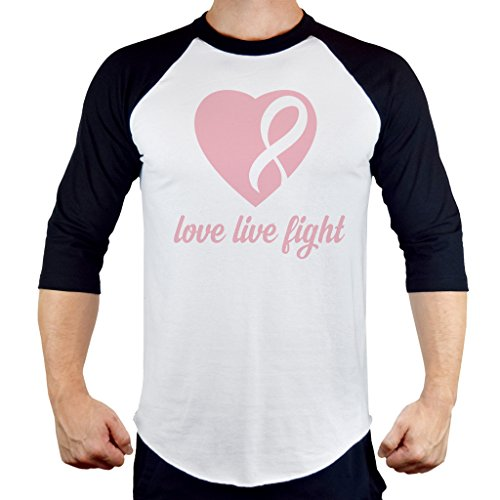 Men's Love Live Fight Breast Cancer Ribbon Heart Tee B1047 PLY Raglan Baseball T-Shirt Small