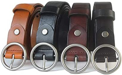 Black 110Cm H-M-STUDIO MenS Belts Rings MenS Women Leather Belts Circles Wild Belts Buckles And Ancient Trousers