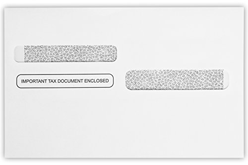 W-2/1099 Envelopes (5 5/8 x 9) - 24lb. White w/Wesco Security Tint (50 Qty.) | Secure and Easy Way to Send 4-Up W2 Tax Forms | Forms 82-5205, 82-5209 & 82-5221 | 7487-W2-50