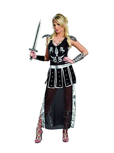 Dreamgirl Women's Glorious Gladiator Royal Warrior Costume, Black, Medium (Warrior Girl Costume)
