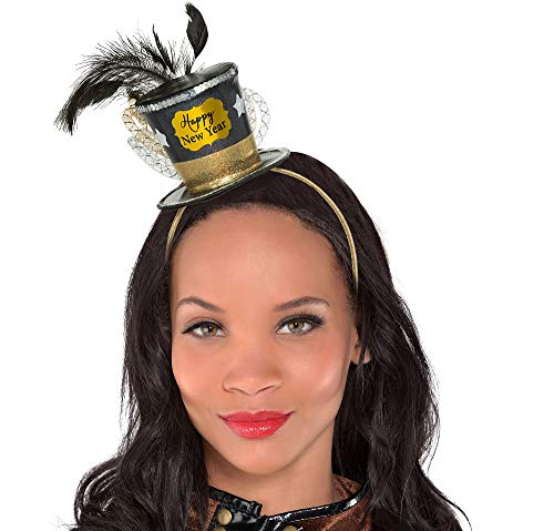 Happy Year New Hat Top (Amscan Mens Happy New Year Top Hat Fascinator Headband One Size - 1/pkg.)