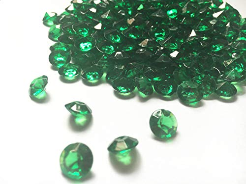 Jane Shop Acrylic Diamonds, 10mm Acrylic Color Faux Round Crystals Treasure Gems, 0.4 inch Tabletop Confetti Crystals for Table Confetti, Vase Fillers, Party Decoration (1000pcs Emerald Green) ()