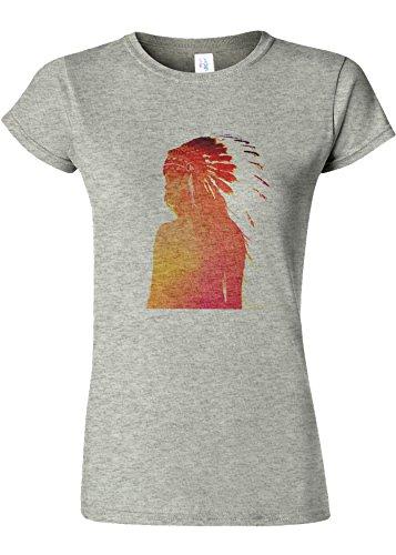 それる湿った納得させるIndian Headdress Girl Funny Novelty Sports Grey Women T Shirt Top-XL