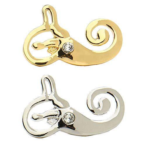 hanreshe Anatomical Inner Ear Brooch 2 Pieces Medical Jewelry Pins Set Nurse Doctor Graduation Medical Student