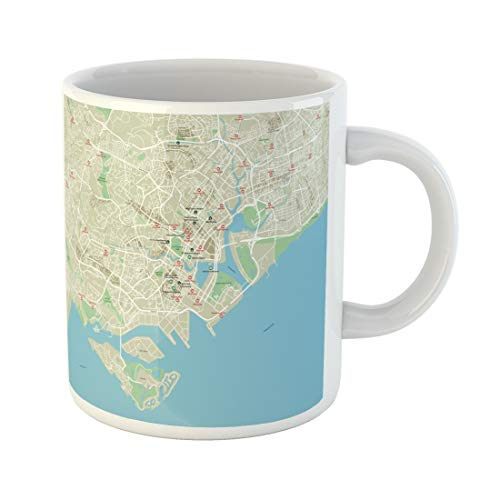 Emvency Funny Coffee Mug Brown Road City Map of Singapore with Well Organized Separated Layers Green 11 Oz Ceramic Coffee Mug Tea Cup Best Gift Or Souvenir