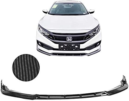 IKON MOTORSPORTS Front Bumper Lip Compatible With 2019-2020 Honda Civic V4 Style CFL Carbon Fiber Print Front Lip Chin Spoiler