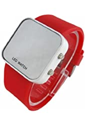 Red LED Mirror Digital Sport Watch Red Unisex for Men and Ladies Silicone Jelly