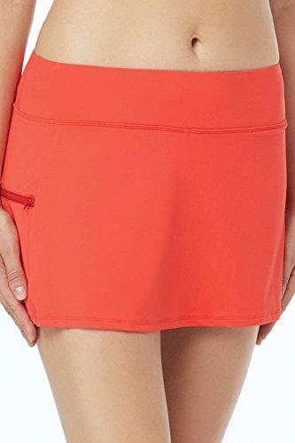 - Beach House Women's Solid Skort Swimsuit Bottom with Short Underneath Skirt, Beach Solids Sunset Coral, 14