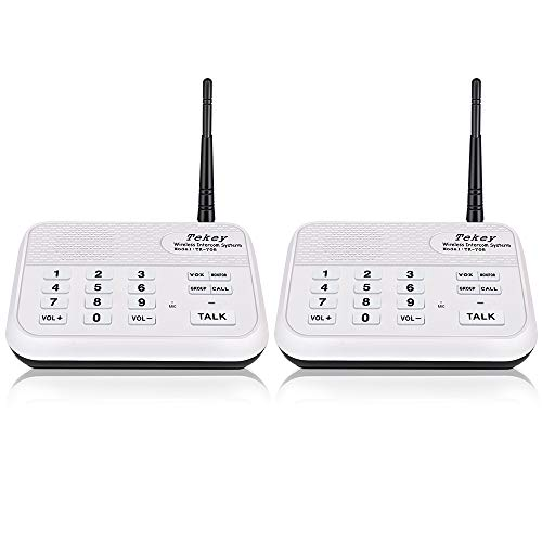 TekeyTBox Wireless Intercom System (New Version), TekeyTBox 1800 Feet Long Range 10 Channel Digital FM Wireless Intercom System for Home and Office Walkie Talkie System for Outdoor Activities(2 Stations White) price tips cheap