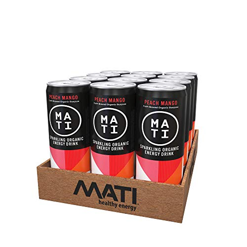 MATI   Natural Healthy Energy Drink   Low Calorie Option   Peach Mango Flavor   12 Pack