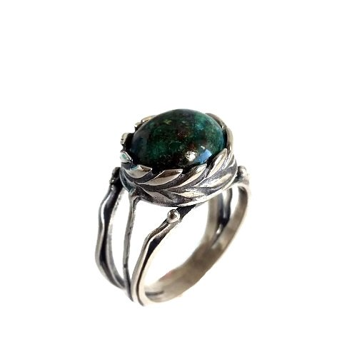 Natural Copper Chrysocolla Handmade Jewelry Solid 925 Sterling Silver Ring Size 12