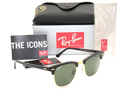 Ray-Ban Authentic Clubmaster RB 3016 901/58 Black Frame / Green Polarized Lens - Size Ban 49 Clubmaster Ray