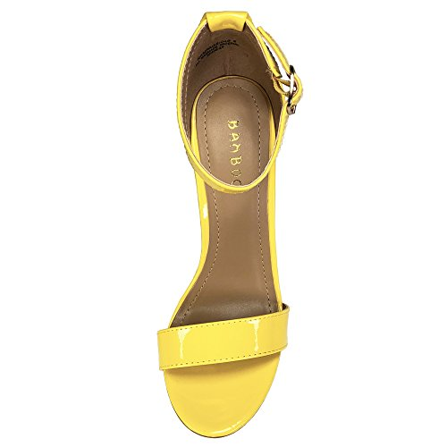 Vegan Bamboo Single Ankle Band Sandal Strap Women's Chunky with Leather Yellow Heel Patent FRxw4rPRnq