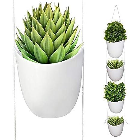 Kurtzy 4 pezzi Vaso da Appendere - Piante da Appendere in Ceramica ...