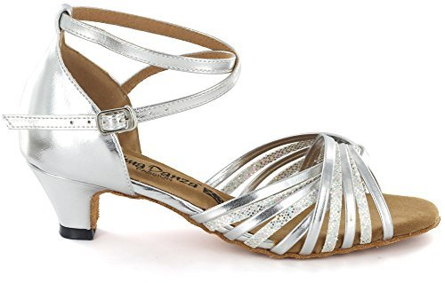 AlmaDanza Women's Latin Dance Shoes A268612 Heel 1.5'' (7.5, Silver)