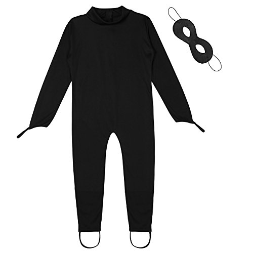 ACSUSS Boys Girls Halloween Cosplay Outfits Cat Noir Costume Long Sleeves Bodysuit with Eye Mask Black 4-5 -