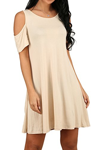 OFEEFAN Women Side Pockets Solid Flowy Swing Dress Plus Size Beige S