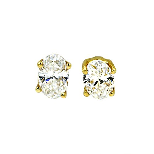 Oval Shape Diamond Fashion Earring Studs in 14K Yellow Gold (1/5 cttw) ()
