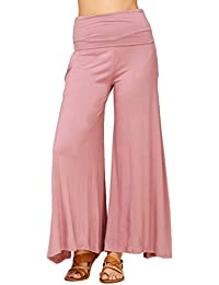 Women's Comfy High Waist Fold Over Wide Leg Palazzo Pants...