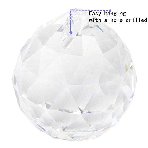 Yoker 40mm Clear Crystal Ball Prisms Pendant Feng Shui Suncatcher Decorating Hanging Faceted Prism Balls (Pack of 8) by Yoker (Image #1)