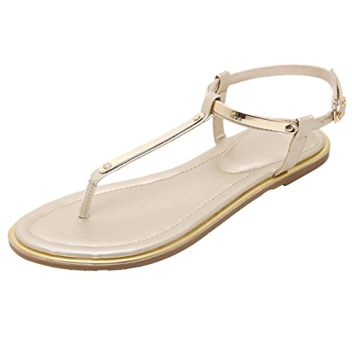 Flat Thong Sandals with T-Strap and Adjustable Ankle Buckle for Women Gold 8 US ()