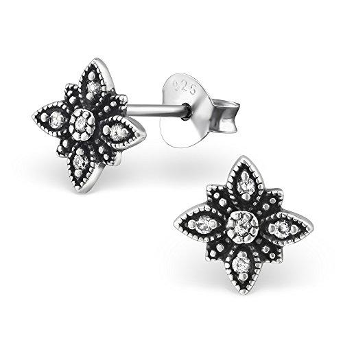 925 Sterling Silver Hypoallergenic Oxidized Flower w/ Crystal CZ Stud Earrings for Women or Girls 30810