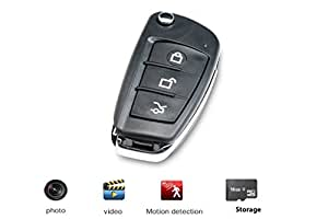JC coche Llavero Espía cámara día y noche 1080p HD – oculta grabadora de vídeo digital y mini Spy cámara, incluye tarjeta SD de 16 GB Mando de coche ...