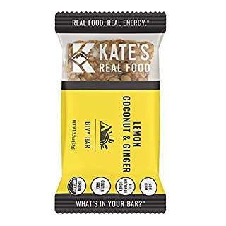 Kate's Real Food Granola Bars | Clean Energy, Organic Ingredients, Gluten Free, Non GMO | All Natural Delicious Health Snack (Lemon Coconut, 12 BARS)