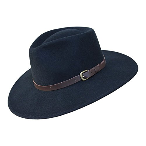 B&S Premium Lewis - Wide Brim Fedora Hat - 100% Wool Felt - Water Resistant - Leather Band - Black ()