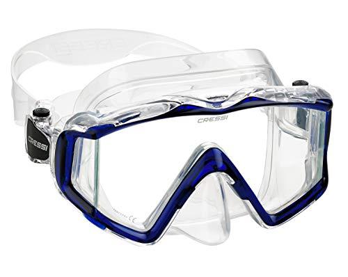 (Cressi Italian Designed Pano 3 Panoramic View Tempered Glass Lens Premium Scuba Snorkeling Dive Mask, Clear Cobalt Blue )