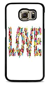 Love in Flowers Black Hardshell Case for Samsung Galaxy S6 EDGE