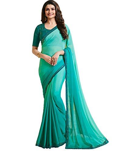 (Indian Sari Fashion Designer Ethnic Simple Look Saree Starwaik 33 (Turquoise))