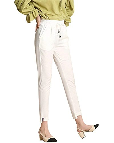 Primavera Sólido Fashion Haidean Pantalon Largos Palazzo Color Elegantes  Casuales Bund Blanco Elastisch Mujer Pantalones Anchos ... 1f6285aaa70e