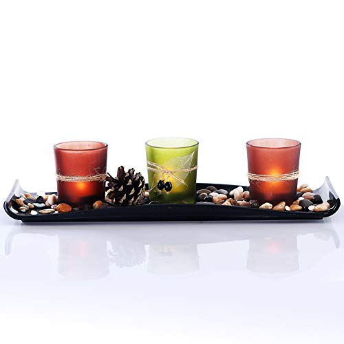 CHICVIE Candleholder Set Tea Light Holder with Decorative Tray DIY Candlescape Set with Ornamental Glass Stones, a Pinecone, 13.4 in Great Centerpieces for Dining Table and Living Room