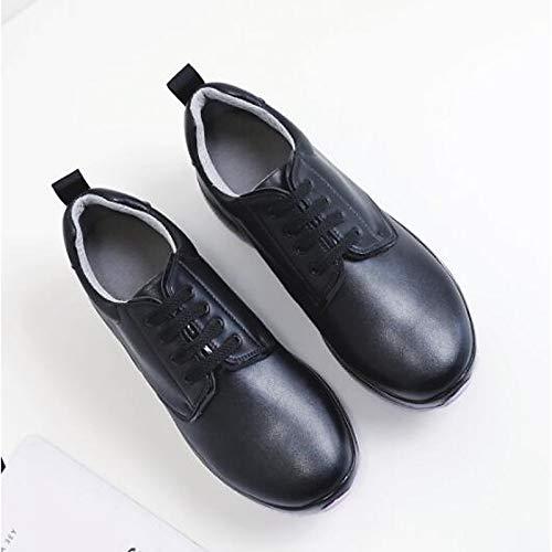 Black Pelle Zhznvx Toe In estate Primavera nero Nappa Closed Comfort Scarpe Bianco Creepers Da Sneakers Donna a4nxSrqZ4w