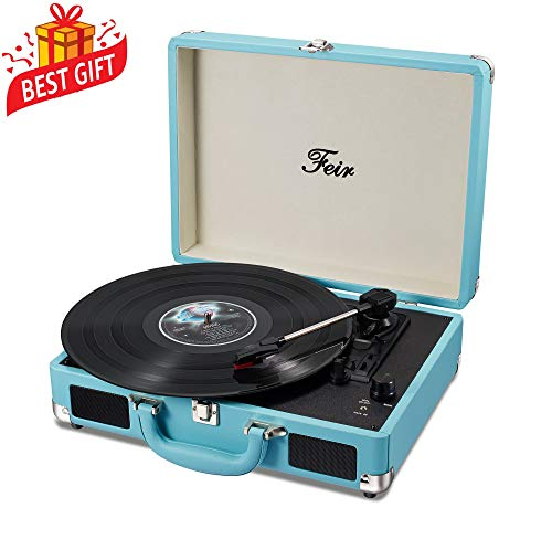 Vinyl Stereo Blue Record Player 3 Speed Portable Turntable Suitcase Built in 2 Speakers RCA Line Out AUX Headphone Jack PC Recorder ()