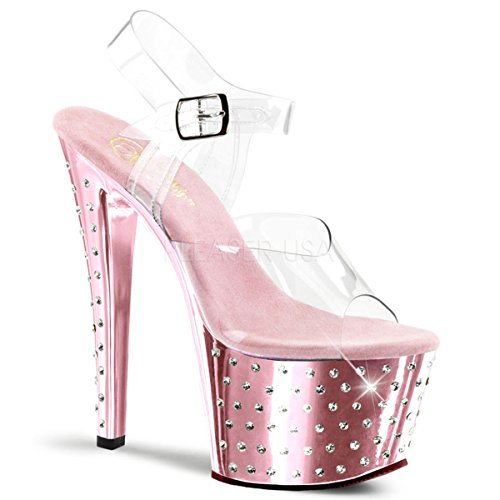 """Pleaser STARDUST-708 Exotic Dancer Stiletto W/Rhinestones 7"""" Ankle Strap Sexy Sandal. Clear/Baby/Pink Chrome-Size 8"""